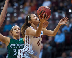 Brittany Robinson driving to the hoop